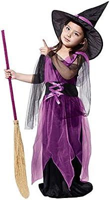Disfraz de bruja – Niña – Violeta – Negro – Carnaval – Halloween ...