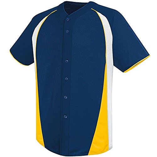 (High Five Ace Full-Button Jersey,Navy/White/Athletic Gold,XXX-Large)