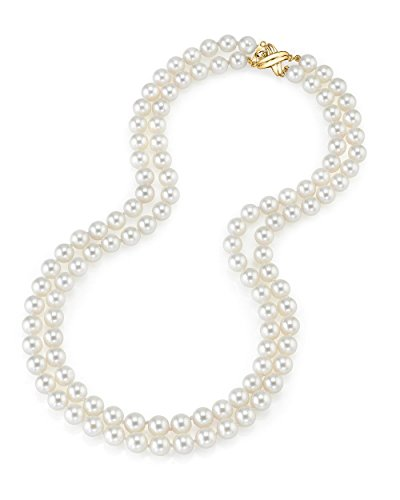 14K Gold Japanese Akoya White Cultured Pearl Double Strand Necklace - AAA Quality, 16-17