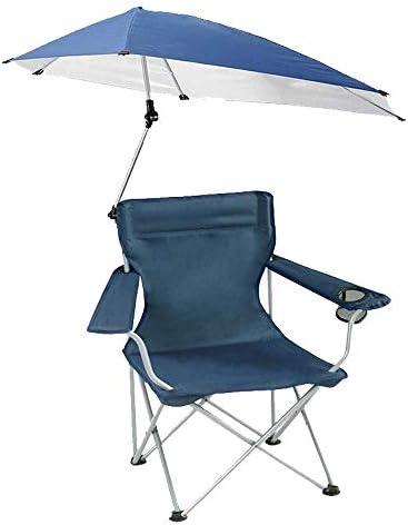 屋外折りたたみ椅子、パラソル付き軽量釣り椅子、キャンプバーベキューやハイキングのためのポータブルピクニックチェア360°回転