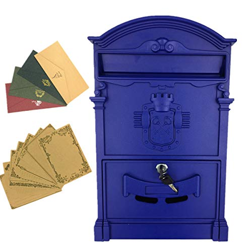 Yahead Outdoor Mailbox Retro Vintage European Aluminum Wall Mounted Mail Box Post Box Secure Letterbox Outside Mailboxes with 8pcs Retro Writing Stationery Paper and 4pcs ()