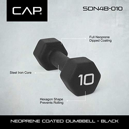 CAP Barbell Neoprene Coated Dumbbell (Pair), 10 lb, Black by CAP Barbell (Image #2)