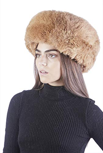 - Raymis Womens Winter Hat Knitted 100% Baby Alpaca Real Fur Hat (Brown)
