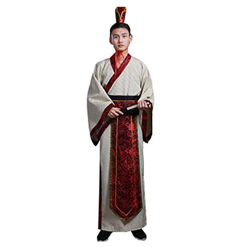 Ez-sofei Men's Ancient Chinese Han Dynasty Traditional Hanfu Robe Cosplay Costume (M, B-Light Grey)