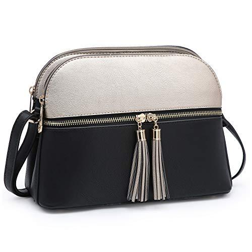 Double Zip Purse - Functional Multi Pockets Lightweight Medium Crossbody Bags Purses for Women Double Zipper Shoulder Messenger Bag with Tassel (Bronze/Black)