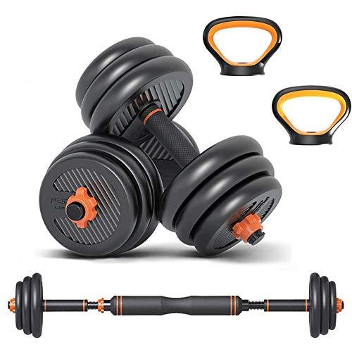 6 in 1 Set Kettlebell & Halters & Barbell, Set van 20 kg Verstelbare Dumbbell Gewichten, vier Fitnessmodi, Perfect voor…