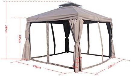 Jet-line Xerxes - Pérgola para jardín (3 x 3 m, protección solar, mosquitera, aluminio), color marrón: Amazon.es: Jardín