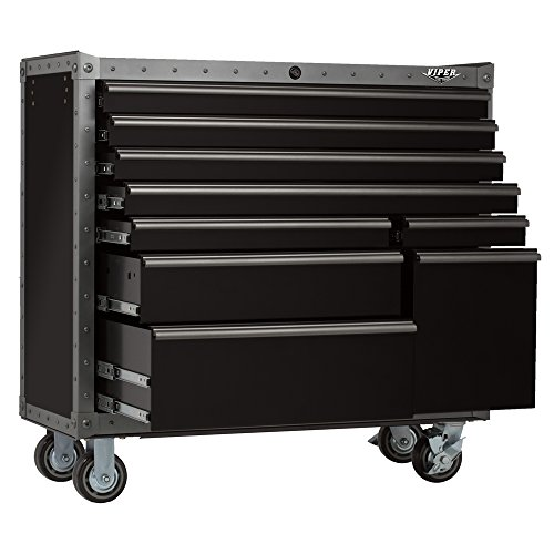 Viper Tool Storage VV4109BLT-R Armor Series 41-Inch 9-Drawer Rolling Tool Cabinet, Black with Rivet Trim