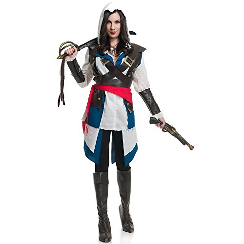 Charades Costumes Women's Cutthroate Pirate White/Blue Large (Family Halloween Costume Ideas With Baby)