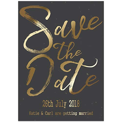 Black Gold Save the Date Card Wedding Invitation ()