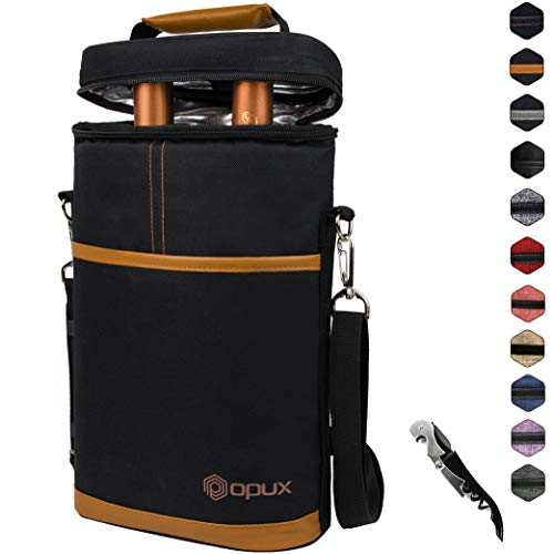 Insulated 2 Bottle Wine Carrier | Wine Tote Bag with Shoulder Strap, Padded Protection, Corkscrew Opener | Portable Wine Cooler Carrying Bag for Travel Picnic - Brown