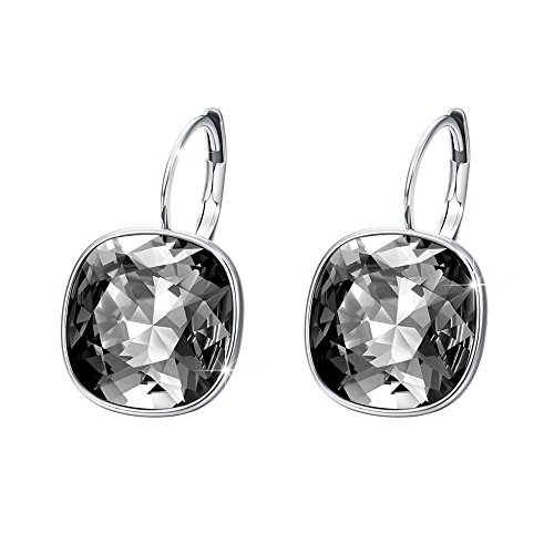 Xuping Gorgeous Fashion Crystals from Swarovski Huggies Hoop Earrings Women Girl Party Jewelry Mom Gifts - Swarovski Black Earrings Crystal