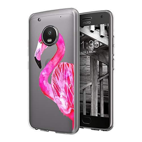 Moto G5 Plus UV Case Van Clear Transparent Slim Soft TPU UV Printing Protective Case for Moto G5 Plus Pretty Pink Flamingo]()
