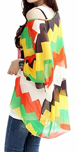 Nero Manica Blouse Giallo Banda Bohemian Shirt Chiffon 3 4 Stampa T Donna Estate xPYdwHqH4