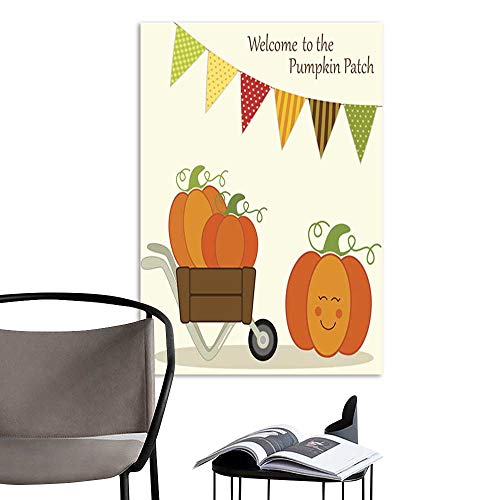 UHOO Arts PaintingCute Pumpkin Patch Card with Bright Bunting Flags in Traditional Autumn Colors and Different Pumpkins in Wheelbarrow.jpg Artwork for Gift for Home Decor ()