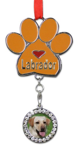 BANBERRY DESIGNS Dog Christmas Ornament - I Love My Labrador Pawprint with a Photo Charm - Puppy Christmas ()