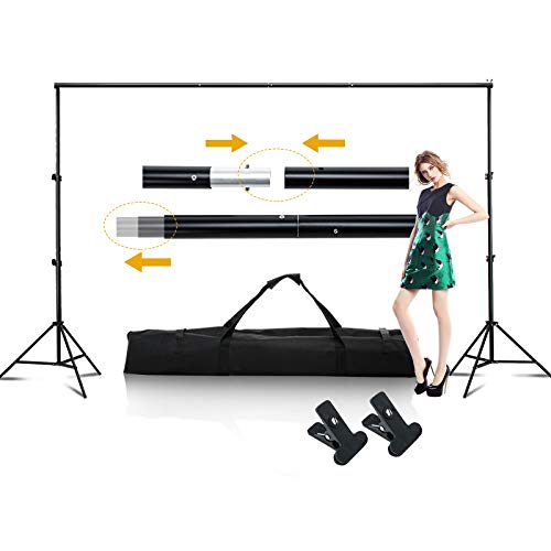 SUNCOO Photo Video Studio 10ft Background Stand Adjustable Backdrop Stand Kit for Parties Portable Background Support System Kit Photography Curtain Holder with Carry Bag