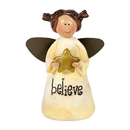 Angel Holding Star Figurine - Believe Angel Holding Star 3 Inch Resin Inspirational Tabletop Figurine