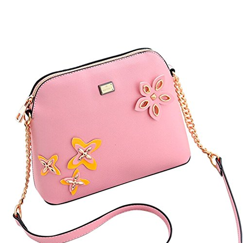 with Women Ladies Purse Messenger Fashion Crossbody Flower Designer Beautiful D��cor Pink Stylish For Tote Leather bag Bag ZZq1I