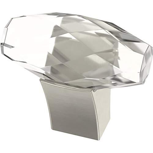 Franklin Brass P40857K-SN-C Cut Glass Oval Kitchen or Furniture Cabinet Hardware Drawer Handle Knob, 1-1/2-Inch (38mm), Satin Nickel, 4-Pack