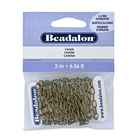 Beadalon - Metal Chain - Elongated Cable - Antique Brass Color - 3.4mm