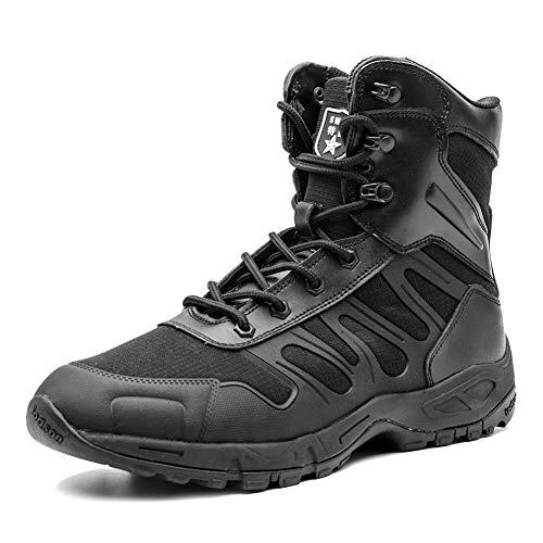 IODSON US New Military Athletic Tactical Comfort Leather Boots Mens' Ultra-Light Combat Boots Waterproof (8.5 D(M) US, - Mens Waterproof Boots Athletic