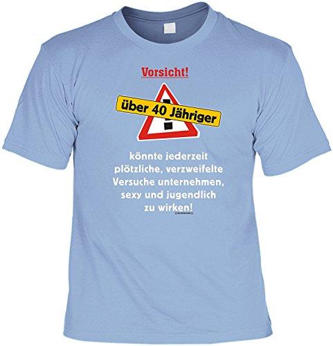 Modisches Herren Fun-T-Shirt als ideale Geschenkeidee im Set zum 40. Geburtstag + Mini Tshirt 40 Farbe: hellblau