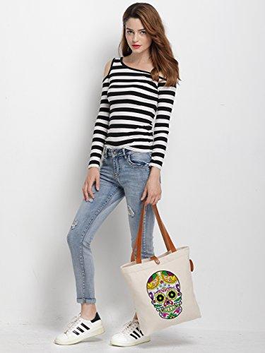 IN.RHAN Women's Cute Skull Graphic Canvas Tote Bag Casual Shoulder Bag Handbag