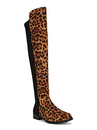 Alrisco Women Leopard Round Toe Riding Knee High Boot SD39