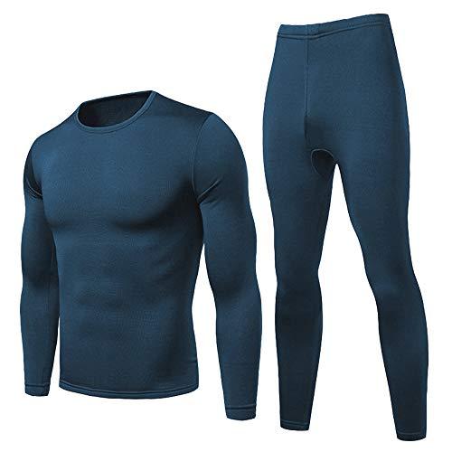HEROBIKER Men Thermal Underwear Set Winer Skiing Warm Top & Bottom Thermal Long Johns Blue