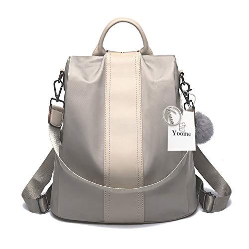 Yoome Oxford Water Resistant Backpack Anti-Theft Recksack Casual Shoulder Purse Handbag Daypack Light Gray