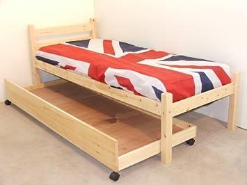 Portaoggetti da letto in pino massello letto singolo 0,9 m con ...