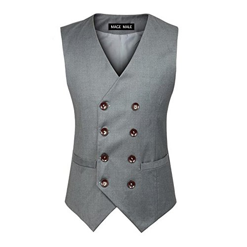MAGE MALE Men's V-Neck 5-Button Vests Single Breasted Notched Lapel Business Suit Separate Waistcoat, Grey 02, Small