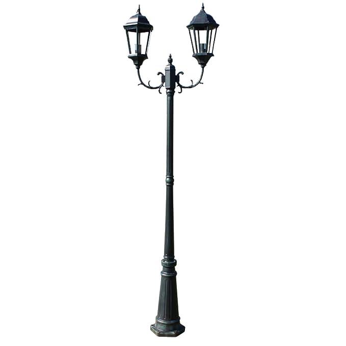 Brighton Pedestal/Poste Lámpara de pie de jardín 2-Brazos ...