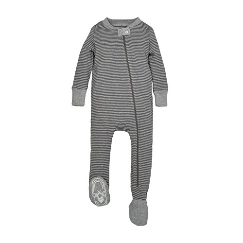 589ed48f Burt's Bees Baby Baby Boys' Organic Stripe Zip Front Non-Slip Footed  Sleeper Pajamas, Charcoal/Heather Stripe, 3-6 Months - Buy Online in Oman.