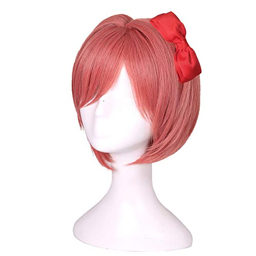 ColorGround Short Coral Halloween Party Cosplay Wig with Bowknot for Girls and Women ()