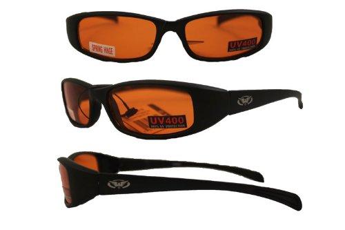 NEW ATTITUDES - Stylish Sunglasses - Orange Lenses, GLOSS Black - Sunglasses New Stylish