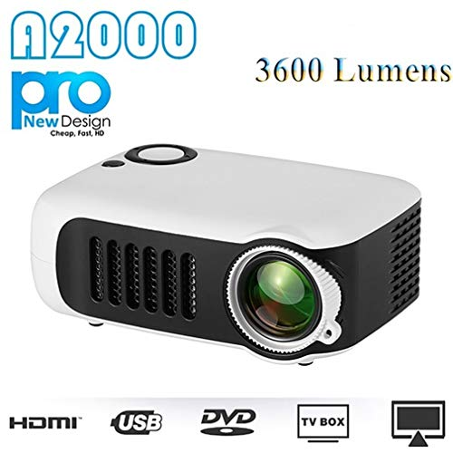 Portable 1080P HD Mini Projector Home Theater Movie Multimedia Video 2 LCD Support HDMI/USB/SD Card/Laptops (UK Plug…