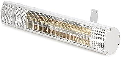 DURAMAXX Gold Bar 2000 - radiador infrarrojo, Calentador de Pared, 2000 W de Potencia, 3 Niveles, emisión de Calor dirigida, Reflector de Aluminio, protección IP65, Control Remoto, Plata: Amazon.es: Jardín