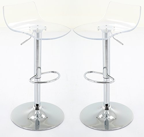 (Vogue Furniture Direct Adjustable Arcylic Barstool, Clear -VF1581033 (Set of 2) )
