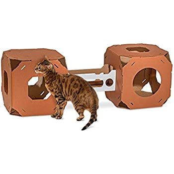 Catty Stacks Designer Cat Boxes, 15W x 15D x 15H Inch,  Chocolate Brown, Pack of 2