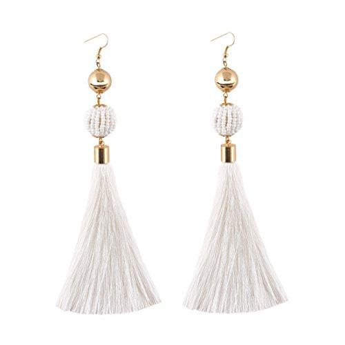 VK Accessories Bead Ball Dangle Earrings Fringe Dangle Earrings Soriee Drop Earrings Beaded Tassel Ear Drop White (Ball Tassel Fringe)