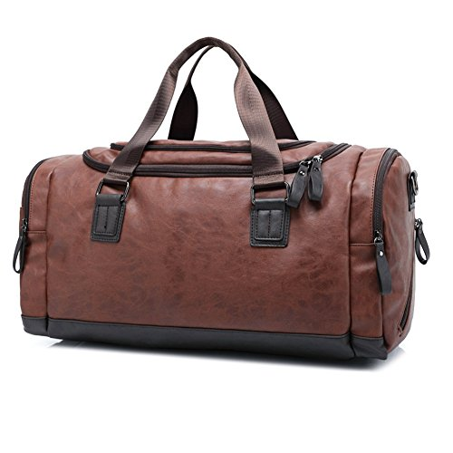Toupons Fashion Top PU Leather Men's Travel Luggage Tote Sports Weekend Duffel Bag (Brown)