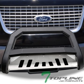 Topline Autopart Matte Black AVT Bull Bar Brush Push Front Bumper Grill Grille Guard With Aluminum Skid Plate For 04-17 Ford F150 Non-Ecoboost / 03-14 Expedition ; Lincoln Navigator / 06-08 Mark LT