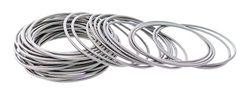 Frogsac Guitar String Coil Bracelet for Women Men Teens Kids | Stainless Steel Stackable Spiral Bangle Bracelets with Free Velvet Pouch | Made in the USA by Frogsac (24 pcs - 4.5mm)