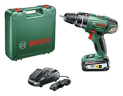 Bosch Home and Garden 0 603 982 30B Atornillador/Taladro de percusión con batería de litio, 45 W, Negro, Gris, 18 V