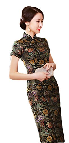 AvaCostume Women's Chinese Silk Floral Qipao Button Long Cocktail Dress Size US 6 Black (Chinese Dress Silk Brocade)