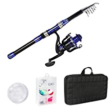Runcl Telescopic Fishing Rod and Reel Combos, Spinning Rod and Reel Combo, Carbon Fiber Fishing Pole with Spinning Reel Lures Lines Hooks for Freshwater Saltwater Boat Fishing