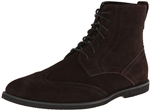 Calvin Klein Men's Fields Suede Boot,Dark Brown,11.5 M US