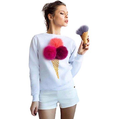 VESNIBA Women Sweatshirt Plush Ball Long Sleeve Causal